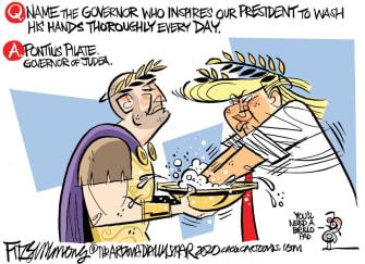 Political Cartoon U.S. Trump cleanses hands of responsibility ancient Rome