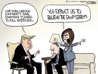 Political Cartoon U.S. Trump Iran Pelosi Schumer
