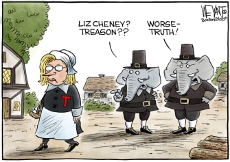 Political Cartoon U.S. liz cheney gop scarlet letter