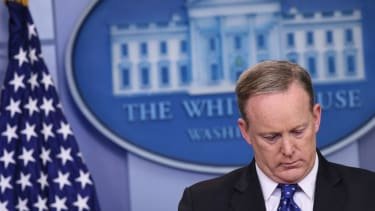 Sean Spicer wasn't hiding in the bushes, exactly