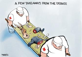 Political Cartoon U.S. Democrats NBC Nevada debates caucus butchered