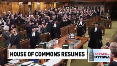Canadian Parliament gives standing ovation to Sergeant-at-Arms after stopping terror attack