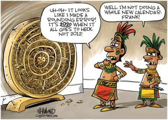 Editorial Cartoon World Mayan calendar 2020 coronavirus racism