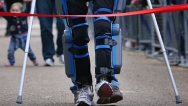 Claire Lomas crosses the finishing line of the London Marathon on May 8: Lomas was one of 36,000 runners in the race, but the only one who is paralyzed.