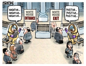 Political Cartoon U.S. COVID White House