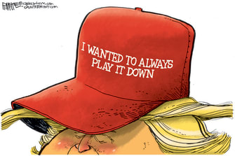 Political Cartoon U.S. Trump COVID maga hat