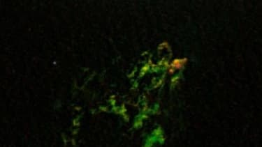 """The bright green color of the blob is from """"glowing oxygen,"""" according to NASA."""