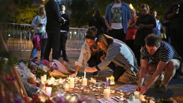 Manchester residents at a vigil.