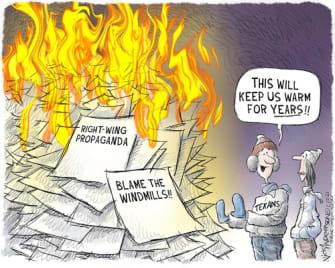 Political Cartoon U.S. texas right wing propaganda storms