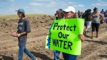 Protesters at the Dakota Access Pipeline site