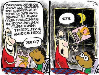 Political Cartoon U.S. Republican Trump impeachment bedtime story