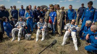 Tim Peake, Yuri Malenchenko, and Tim Kopra land from the International Space Station in Kazakhstan