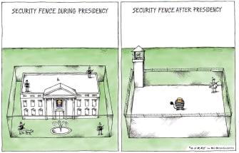 Political Cartoon U.S. Trump 2020 prison