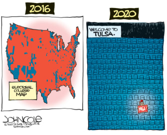 Political Cartoon U.S. Trump Tulsa rally