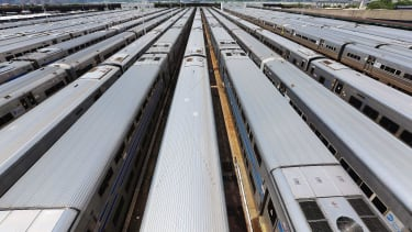 Trains parked in New York City.