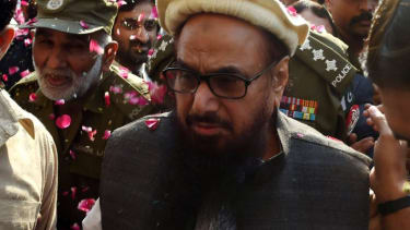 Hafiz Saeed was showered in rose petals by his supporters after being released by Pakistan.