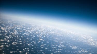 View of earth's atmosphere from space.
