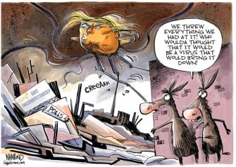 Political Cartoon U.S. Trump coronavirus war of the worlds