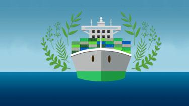 Green cargo ship.