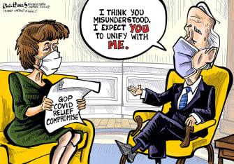Political Cartoon U.S. biden susan collins covid compromise unity