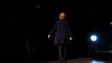 Hillary Clinton walks off stage