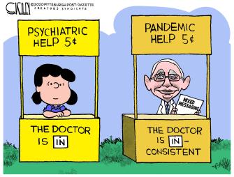 Editorial Cartoon U.S. fauci covid peanuts lucy