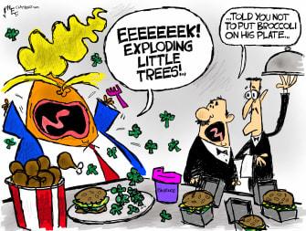 Political Cartoon U.S. Trump wildfire exploding trees