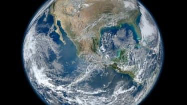 """NASA's new """"Blue Marble"""" image is a digital composite of several photos taken by a satellite as it zoomed around the Earth four times on January 4."""