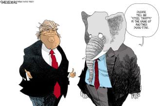 Political cartoon U.S. Trump trade war tariffs GOP steel industry Stormy Daniels affair allegations