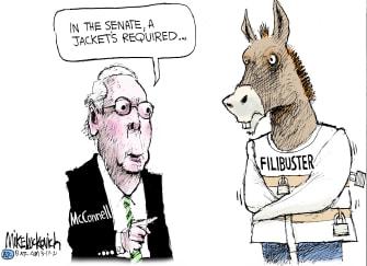 Political Cartoon U.S. mcconnell democrats filibuster