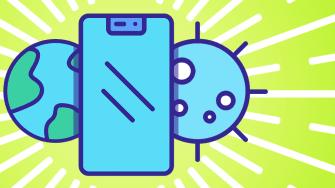 A phone, Earth, and coronavirus.