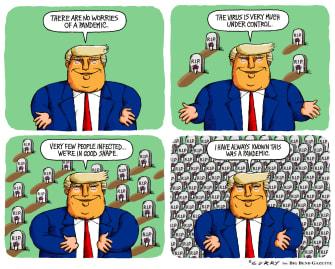 Political Cartoon U.S. Trump press briefing coronavirus deaths