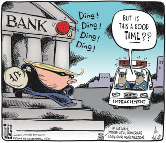 Political Cartoon U.S. Trump Impeachment Democract Cops