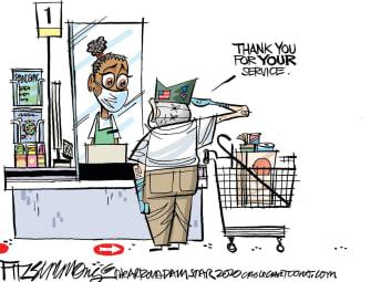 Editorial Cartoon U.S. thank you for service veteran essential worker gratitude