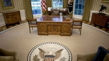 President Barack Obama's desk sits in the newly redecorated Oval Office of the White House.
