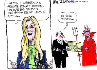 Political Cartoon U.S. Kelly Loefler COVID-19 Senate soul broker devil