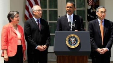 Obama speaks to the press about the BP oil spill.