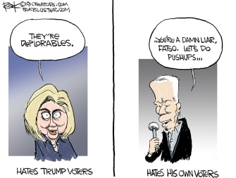 Political Cartoon U.S. Biden Hillary Voter Hate