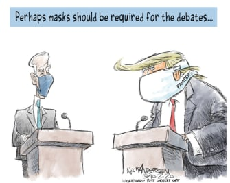 Political Cartoon U.S. Trump Biden debate masks