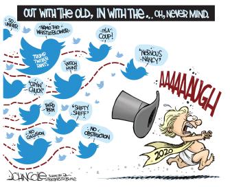 Political Cartoon U.S. Trump 2020 Tweeting
