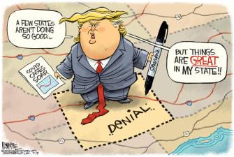 Political Cartoon U.S. Trump Coronavirus surge