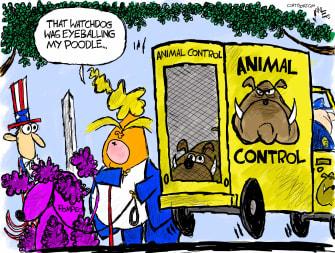 Political Cartoon U.S. Trump pompeo IG watchdog firing