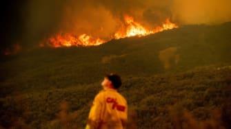 A firefighter near the Ranch Fire.