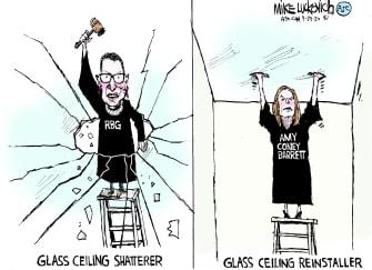 Editorial Cartoon U.S. Ginsburg Barrett SCOTUS equality