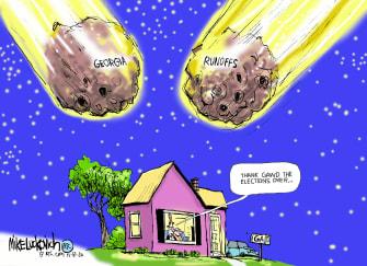 Political Cartoon U.S. Georgia runoff 2020