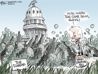 Political Cartoon U.S. biden infrastructure bill swamp