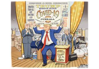 Political Cartoon U.S. Trump coronavirus briefing snake oil