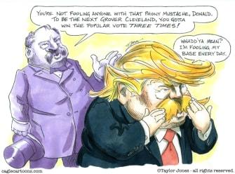 Political Cartoon U.S. Trump Grover Cleveland