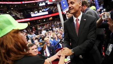 Corey Lewandowski greets people at the 2016 Republican National Convention.