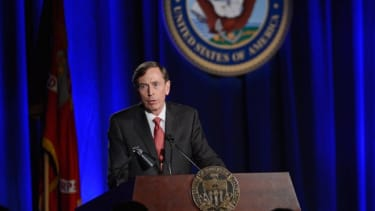 Petraeus received a standing ovation from a perhaps more sympathetic military audience.